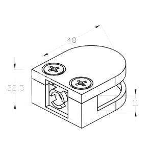 Стеклодержатель на плоскость, 8 мм, литой (AISI304), арт. 002