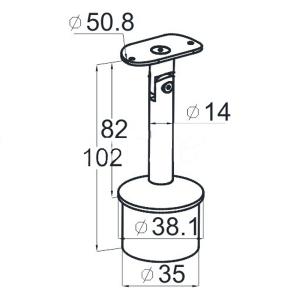 Держатель поручня на стойку 38,1мм, шлифованный (AISI304), арт. 006-4
