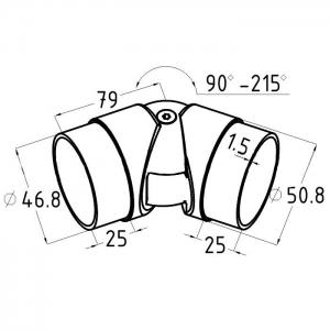 Поворот шарнирный литой внутренний для поручня 50,8 мм, (AISI304), арт. к011