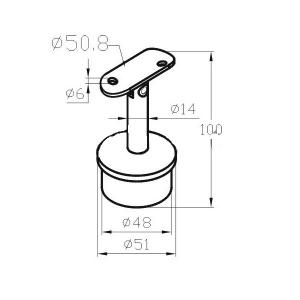 Держатель поручня 50,8мм на стойку 50,8мм с регулируемым ложементом (AISI304), арт. 042