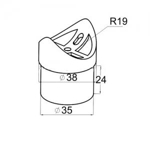 Ложемент-Седло 90 град на стойку 38 мм для поручня 38,1 мм (AISI304) арт044-2