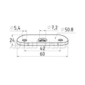 Ложемент полукруглый для крепления поручня 50,8мм (AISI304), арт. 046-50