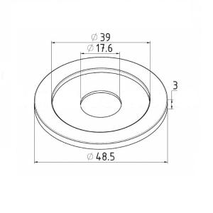 Розетта для трубы Ø38,1 с отверстием Ø17,6мм (AISI201), арт. 050