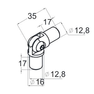 Поворот ригеля 16х1.5 мм из нержавейки(AISI304), арт.К060-4