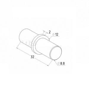Соединитель трубы Ø12х1,5мм, внутренний (AISI304), арт. К081-3