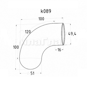 Отвод для пластикового поручня с круглой заглушкой (AISI304), арт. 089
