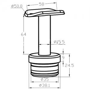Держатель поручня на стойку 38,1мм, нерегулируемый (AISI304), арт.к199