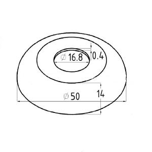 Декоративная крышка на стойку 16,5мм, Ø50мм (AISI304), арт. 202