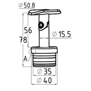 Держатель поручня на стойку 38,1мм, с регулируемым ложементом(AISI304), арт. 204