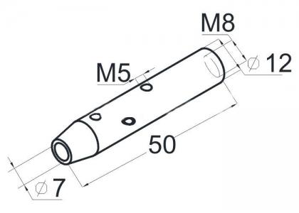 Держатель троса 6мм, полированный (AISI304), арт. К077-4