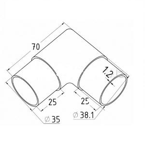 Угловой поворот поручня 38,1 мм, литой (AISI 304), арт. 255