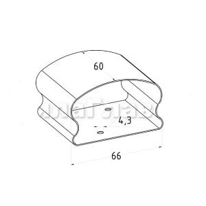 Соединитель пластикового фигурного поручня (AISI304), арт. 257