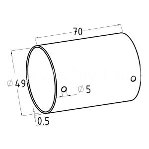 Соединитель пластикового поручня (AISI304), арт. 260-2