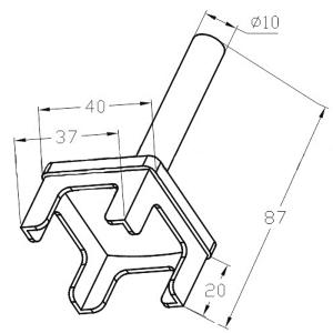 Наконечник  стойки 40х40 мм, палец (AISI304), арт. 285