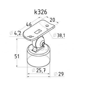 Держатель поручня 38,1мм на стойку 25,4мм наружный, с регулируемым ложементом (AISI304), арт. 326