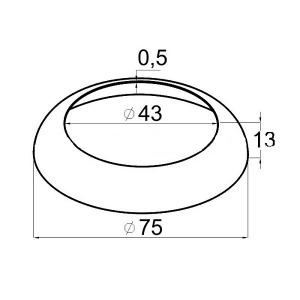 Декоративная крышка на стойку 42,4мм, Ø75мм (AISI304), арт. 330