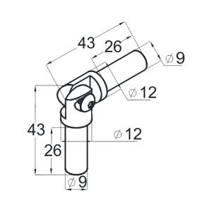 Поворот ригеля 12х1 мм литой с двумя установочными штифтами(AISI304), арт.К357