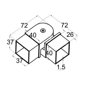 Поворот шарнирный для трубы 40х40 мм (AISI304), арт. 366