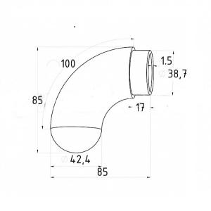 Окончание поручня 42,4мм с круглой заглушкой (AISI 304), арт. К373