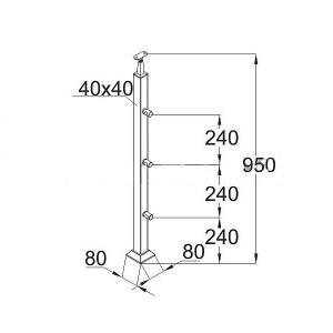 Готовая квадратная стойка, 3 ригеледержателя (AISI304), арт. 743