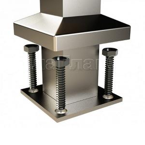 Готовая квадратная стойка, 4 стеклодержателя (AISI304), арт. 746