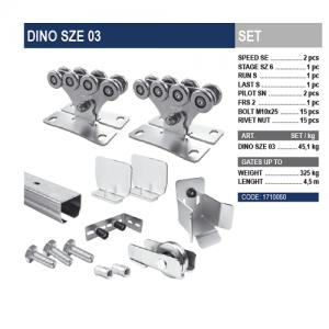 Комплект для откатных ворот DINO SZE 03 с оцинкованной шиной.