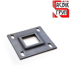 Пластина для монтажа столба к бетону, черный металл
