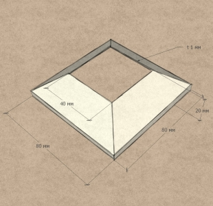 Крышка для квадратной стойки 40х40 мм (AISI304), арт. 064-3