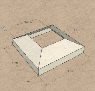 Крышка для квадратной стойки 40х40 мм (AISI304), арт.076