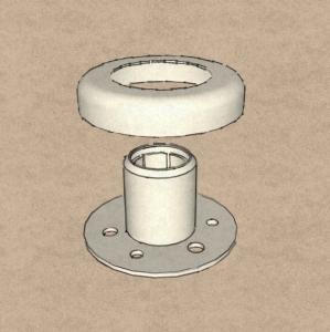 Цанга - крепление стойки Ø50,8 мм, в сборе (AISI304), арт. К220