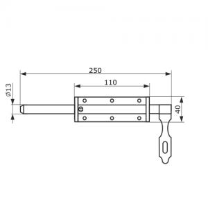 Засов для ворот 250 мм. с накладкой