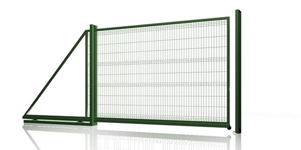 Ворота сдвижные самонесущие из евросетки. Ворота для 3 D еврозабора. Ширина ворот 4.5 метра.