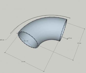 Отвод диаметром 38,1 мм, сварной (AISI 304)