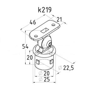 Держатель поручня 38,1мм на стойку 25,4мм, с регулируемым ложементом (AISI304), арт. 219