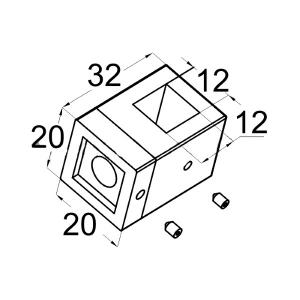 Ригеледержатель нержавеющий под квадратный ригель (струну) 12х12 мм, арт. 266