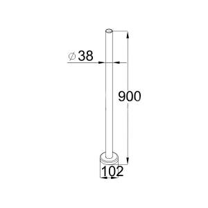 Готовая стойка, с фланцем, диаметр 38 мм (AISI304), арт. 701