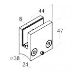 Стеклодержатель на трубу Ø38 квадратный, литой (AISI304), арт. 004