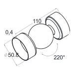 Поворот шарнирный для пластикового поручня (AISI201), арт. 053-4