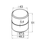 Соединитель поручня (трубы) Ø50,8х1,45, внутренний (AISI304), арт. К087