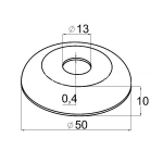 Декоративная крышка на стойку 12,5мм, Ø50мм (AISI304), арт. 202-2