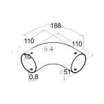 Поворот для пластикового поручня 90° (AISI304), арт. К259