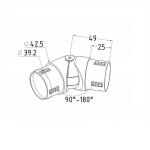 Поворот шарнирный литой внутренний для поручня 42,4мм, (AISI304), арт. к273