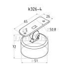 Держатель поручня 50,8мм на стойку 50,8мм наружный, с регулируемым ложементом (AISI304), арт. 326-4