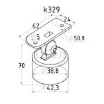 Держатель поручня 50,8мм на стойку 38,1мм наружный, с регулируемым ложементом (AISI304), арт. 329