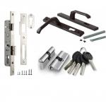 Комплект врезного замка для калитки (замок+ответная планка+ручки+цилиндр+5 ключей)