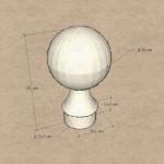 Наконечник стойки диаметром 38,1 мм, шар литой, арт. к070