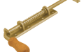 Засов воротный универсальный с пружиной и деревянной ручкой. Удлиненный.